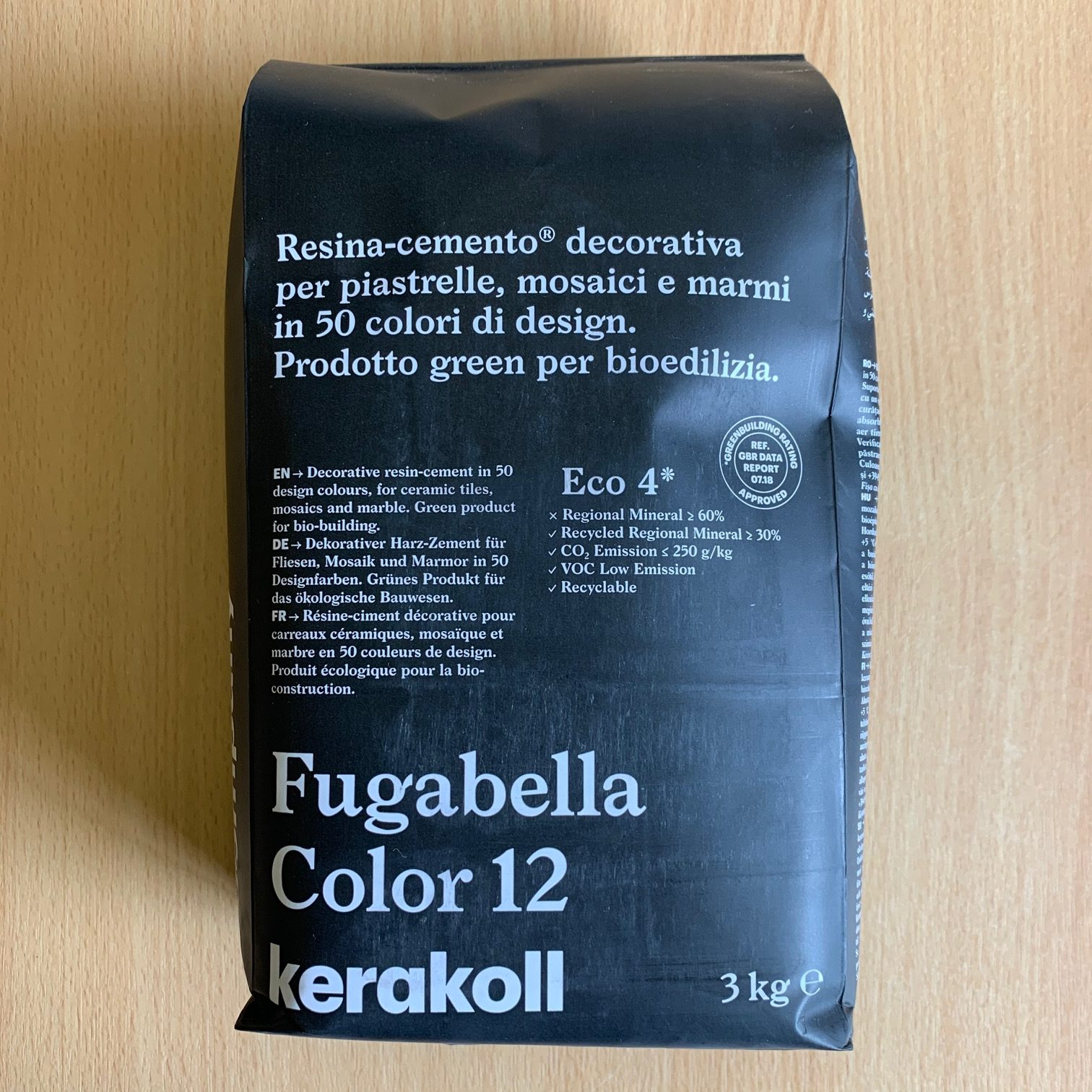 Fugabella Porcelain Grout 3kg – Color 12 – Black